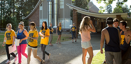 Students by the Chapel during Orientation
