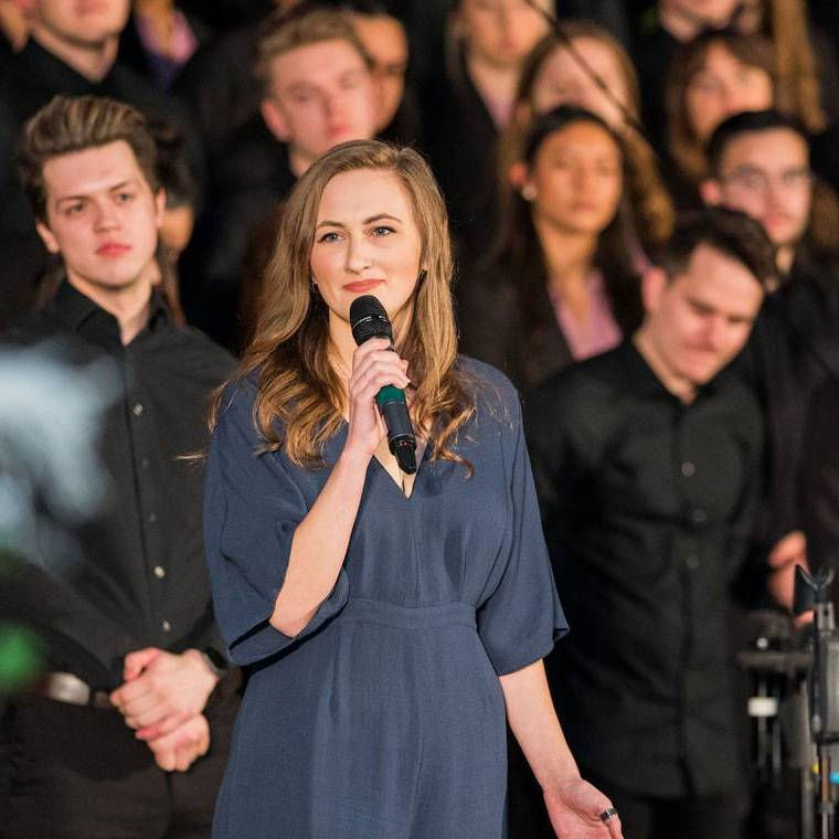 Student Holly Hollopeter sings during a Choralons performance.