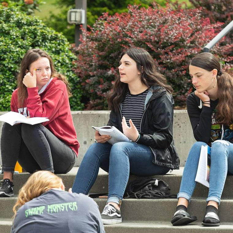 Four students sitting on steps outside on a sunny day engage in a class discussion.