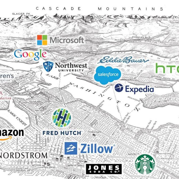 Map of the area around the Northwest University campus marking company locations including Microsoft, Google, Amazon, Starbucks, Salesforce, Expedia, HTC, Eddie Bauer, Fred Hutch, Jones Soda, Zillow, and Nordstrom.